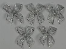 48 pcs METALLIC SILVER TREAD 2.7cm Ribbon Bow